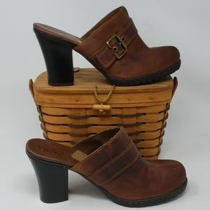 Bolo By Born Brown Leather Heeled Mule Clogs  9